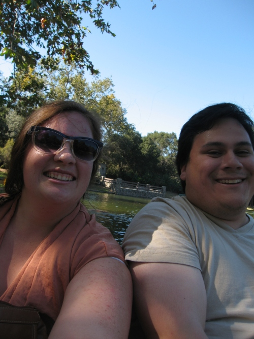 On a boat in a lake in a park in SoCal with Mitchell.